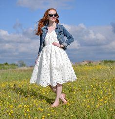 white sundress and denim jacket