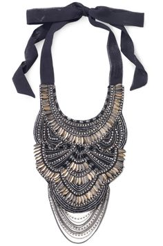 Copper, Sequin & Black Silk Bib Necklace | Virgina Bib Necklace | Stella & Dot
