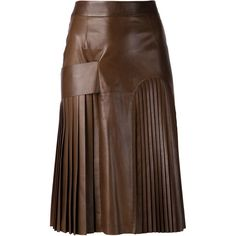 Givenchy pleated panel skirt ($3,650) ❤ liked on Polyvore featuring skirts, givenchy, leather, saias, brown, knee length leather skirt, leather panel skirt, brown skirt, mid length skirts and brown leather skirt