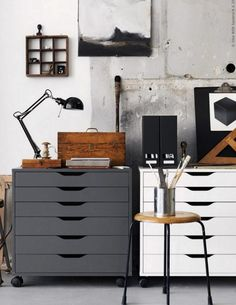 IKEA home office inspiration Office Workspace, Office Decor, Ikea Home Office, Industrial Workspace, Industrial Lighting, Rustic Industrial, Industrial Office Storage, Office Ideas, Office Storage Ideas