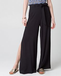 Viscose Slit Wide Leg Pant - You'll never say I have nothing to wear again with this wide leg pant fashionably designed with slits and a waist tie. High Fashion, Womens Fashion, Affordable Fashion, Wide Leg Pants, Harem Pants, How To Wear, Outfits, Clothes, Tops