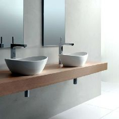 Floating basin counter tops bespoke nature - Walnut Twin Basin Floating Shelves Master Bathroom
