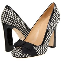 Kate Spade New York Jocelyn ($325) ❤ liked on Polyvore featuring shoes, pumps, heels, high heels, sapatos, leather high heel shoes, houndstooth shoes, bow heel shoes, leather pumps and houndstooth print shoes