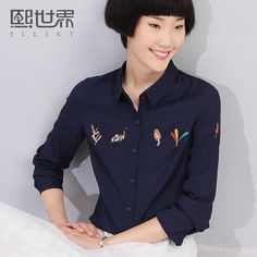 ① Hee World 2016 autumn new collar Slim long-sleeved polo shirt embroidered…