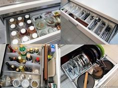 キッチンの引き出し収納 Kitchen Organization, Kitchen Storage, Kitchen Decor, Organizing, Kitchen Cupboard Doors, Kitchen Pantry, Cabinet Design, Storage Shelves, Interior Design Living Room