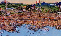吉田初三郎《大神戸市を中心とせる名所鳥瞰図絵(神戸三ノ宮部分)》