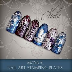 Nail art with Moyra Stamping Plate No. 32 Nature, No. 29 Waterworld, No. 28 Femme Fatale, No. 37 Visuality, No. 25 Vintage 2, Moyra SuperShine Colour Gel No. 50 Shadow, No. 518 Calm, Moyra Stamping Polish SP 08 Silver  #moyra #nailart #stamping #plate #femmefatale #nature #visuality #waterworld #vintage2 #supershine #colourgel #koromnyomda #koromdiszites #szineszsele #nyomdalakk #stampingpolish #silver #ezust