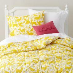 Kids' Bedding: Yellow Animals Filled Comforter in Kids Blankets Girls Bedroom, Bedroom Decor, Bedroom Ideas, Beds For Kids Girls, Yellow Bedding, Bright Bedding, Turquoise Bedding, Yellow Animals, Purple Walls