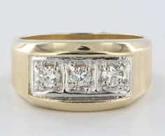 Vintage 14k Gold Mens Diamond Ring Estate Fine Jewelry Heirloom Sz 10.5 mens gold jewelry