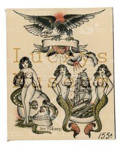 Doc Forbes - 155A Traditional Tattoo Flash Art, Traditional Tattoo Sketches, Traditional Flash, Retro Tattoos, Old Tattoos, Vintage Tattoos, Blackwork, Sailor Jerry Tattoo Flash, Tattoo Museum