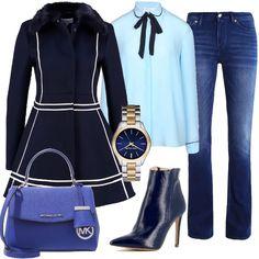 Abbinamento trendy del jeans modello bootcut, alla camicia con lacci sotto il colletto, abbinato ad un cappottino svasato blue con rifiniture a righe bianche, stivaletto dal tacco alto in blue, borsa Michael Kors e l'essenziale orologio, sempre firmato Michael Kors. Completo adatto per l'ufficio, serata con amiche, aperitivo o semplicemente per chi ama lo stile bon ton senza dover rinunciare al jeans.