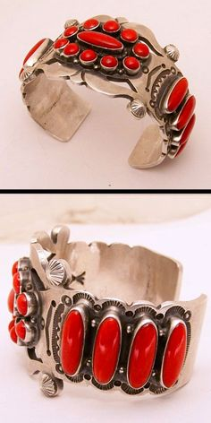 Navajo artist Hank Vandever created this sterling silver and coral bracelet. The coral is Mediterranean coral.