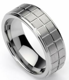 Men's Tungsten Ring/ Wedding Band, Boxed Design, Sizes 7 - 12 by Men's Collections (rg1) Menss Collections. $10.95. Comfort it. 8mm wide, Weight- 14 grams. Tungsten Ring/Band. Durable. Intricate boxed design