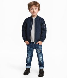 Slim-fit jeans in washed, flexible, superstretch denim for added freedom of movement. Adjustable elasticized waistband with zip fly. Freedom Of Movement, H&m Online, Jeans, Blue Denim, Fashion Online, Kids Fashion, Bomber Jacket, Slim, Fitness