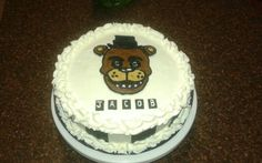 Five Nights at Freddy's cake- Fudge Marble with chocolate filling and vanilla buttercream frosting
