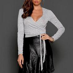 Women Fashion Debut Wrap Knit Top