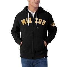 Missouri Tigers Striker Full Zip Hooded Sweatshirt by '47 Brand www.shopmosports.com