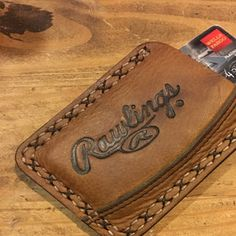Minimalist Leather Three Pocket Baseball Wallet repurposed from a Rawlings Baseball Mitt Best Wallet, Pocket Wallet, Leather Gloves, Leather Bracelets, Leather Bag, Leather Wallet Pattern, Minimalist Wallet, Leather Working, Leather Wallets