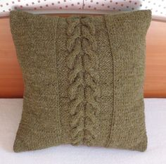 Hand knitted cushion cable knit pillow decorative by Adorablewares, $31.00
