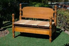 Repurposed Furniture, Unique Furniture, Furniture Plans, Diy Furniture, Woodworking Furniture, Furniture Projects, Wood Projects, Bed Frame Bench, Old Bed Frames