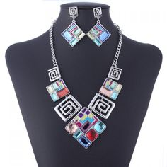 Unique Faux Gem Decorated Geometric Pendant Necklace With A Pair of Earrings For Women, AS THE PICTURE in Necklaces | DressLily.com