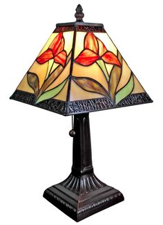 Amora Lighting Tiffany Style AM029TL08 14.5-inch Floral Mini Table Lamp