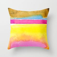 """Art, Artsy Pillow, Yellow, Pink, Orange Painting """"""""Finding Serenity 4"""" """" Original abstract watercolor painting Kathy Morton Stanion  EBSQ"""
