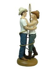 New Just Hitched Cowboy Cowgirl Wrapped In Lasso Rodeo Western Cake Topper