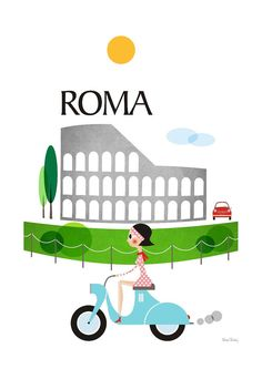 Rome Poster city, Travel Print, Illustration Coliseum, Retro poster, Poster bike, Size A4 or 8 x 10  ▲We have in our store, other cities!  ▲ Digital