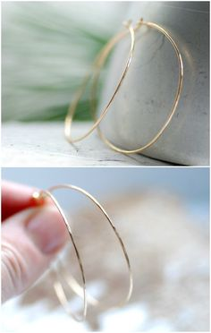 Thin Gold Hoop Earrings, Hammered Gold Earrings, Lightweight Hoops, Everyday Jewelry, 14k Gold Filled, Minimalist Jewelry, Delicate Hoops by WildWomanJewelry on Etsy https://www.etsy.com/listing/208743061/thin-gold-hoop-earrings-hammered-gold