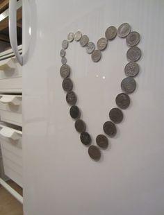 Tee-se-itse-naisen sisustusblogi: Souvenir Coins As Fridge Magnets
