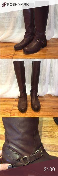 Dark brown Ralph Lauren leather riding boots Very few times worn! Great condition dark brown leather riding boots - knee height, true to size Lauren Ralph Lauren Shoes Winter & Rain Boots