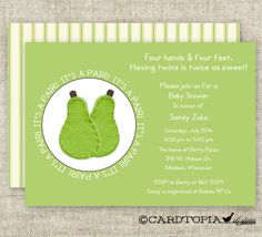 TWIN BABY SHOWER Invitations It's A Pair Boy Or Girl Green Digital Printable Personalized Cards- 90578808. $13.50, via Etsy.