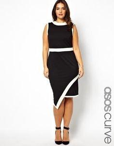 ASOS CURVE Exclusive Architexture Dress With Asymmetric Hem plus size