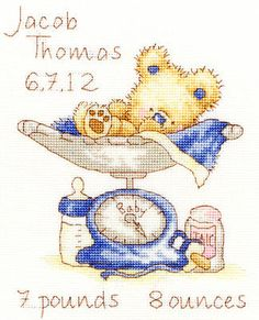 Huggles Featherweight baby boy birth sampler cross stitch kit