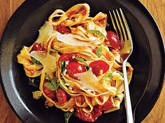 Pasta with Fresh Tomato-Basil Sauce | Though we paired this chunky sauce with fettuccine, it would also be nice with short pasta shapes, like penne, gemelli, or farfalle. For a more dramatic presentation, use multicolored cherry tomatoes, or a combination of cherry and pear (or teardrop-shaped) tomatoes.