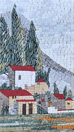 Mosaic Designs - Countryside - Mountain House - Stone Mosaic - Petal Tiles - Handmade Mosaics - Patterns | #Mozaico