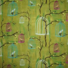 Hanging Cages in Lime Fabric - birds in cages green base