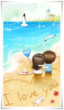 together in love on the beach. Emo Love, Cute Love, Couple Wallpaper, Love Wallpaper, Cute Couple Art, Cute Couples, Chibi Couple, Glitter Gif, Birds In The Sky