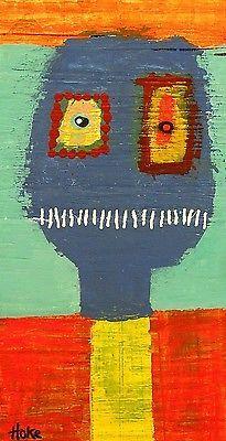 HURDY-GURDY-MAN-Hoke-Outsider-RAW-Folk-Abstract-Art-Brut-Painting-vISIONARY