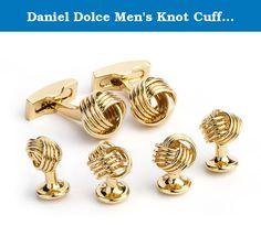 Daniel Dolce Men's Knot Cufflink Stud Set in Gold Tone. Knot cufflink/stud set in gold tone.
