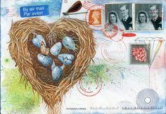 Holiday (or anytime) postcard made from original mail art made from vintage stamps, original gouache paintings, and vintage envelopes. Nest full of