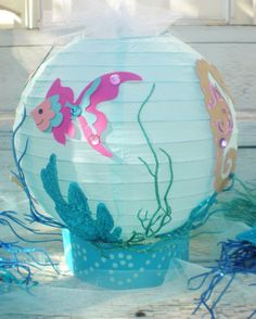 "Under the Sea table centerpiece, beach or ocean theme, fish, seahorse, conch shell, and starfish, with LED light, 10"" diameter"