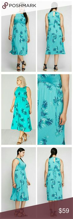 """Palm print midi dress vacation tropical 2x 18 20 RAYON / SPANDEX MACHINE WASH LENGTH: 49"""" SIZES: 18/20 approximately 2x  An easy little dress in a print that transports you somewhere even more carefree. Elastic waistband just below the bust flatters (and conceals). Self-tie belt. Lane Bryant Dresses Midi"""