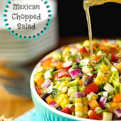 Mexican Chopped Salad A fresh, delicious, Southwestern-inspired salad you'll find yourself craving again and again! Mexican Chopped Salad, Clean Eating, Healthy Eating, Cooking Recipes, Healthy Recipes, Delicious Recipes, Soup And Salad, Mexican Food Recipes, Salad Recipes