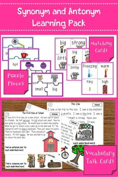 Task cards, puzzle pieces, matching cards, and posters to help students practice synonyms and antonyms. Great for ELL learners. #vocabulary #language #languagearts #grammar #taskcards #puzzle #esol #esol #teacherspayteachers #tpt