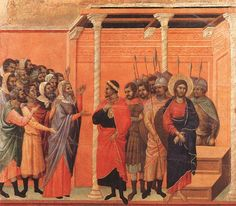 Christ Accused by the Pharisees (detail) 1308-11 Duccio di Buon