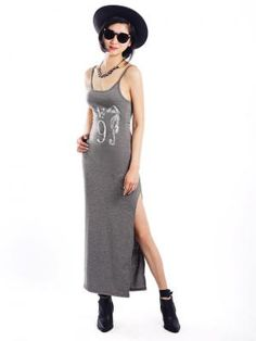 Gray Camis Maxi Dress With Seahorse Print