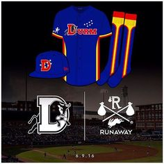 The Durham Bulls and RUNAWAY have collaborated on a uniform design for the team's first-ever DURM Night, to be held on Thursday, June 9, at Durham Bulls Athletic Park.