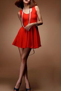 Simple Cut out Back Detail Sleeveless Dress OASAP.com